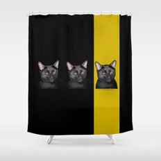 Three Black Cats with Black and Yellow Background Shower Curtain