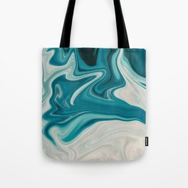 Blue White Abstract Marble Tote Bag