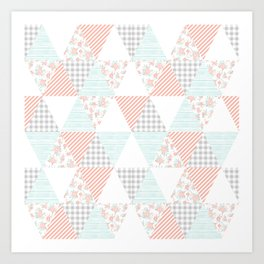 Quilt nursery cheater quilt minimal floral camping pattern modern color palette Art Print