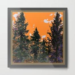 CHARCOAL GREY WESTERN PINE TREES  LANDSCAPE Metal Print