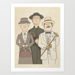 Marple, Poirot and Father Brown Art Print