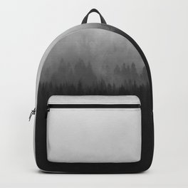 Minimalist Modern Black And white photography Landscape Misty Black Pine Forest Watercolor Effect Sp Backpack