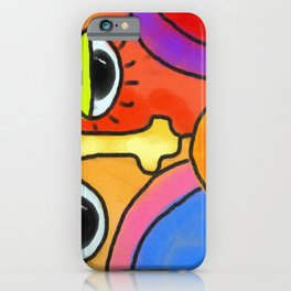 Funky Abstract Face Digital Painting iPhone Case