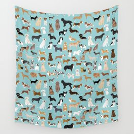 Dogs pattern print must have gifts for dog person mint dog breeds Wall Tapestry