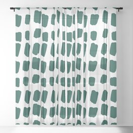 Green Abstract Paint Splotches Sheer Curtain