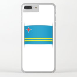 Flag of Aruba.  The slit in the paper with shadows. Clear iPhone Case