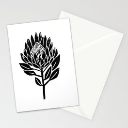 Linocut Protea floral black and white minimal flower spring Stationery Cards