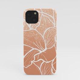 Modern copper tan terracotta glitter ombre color block white floral pattern illustration iPhone Case