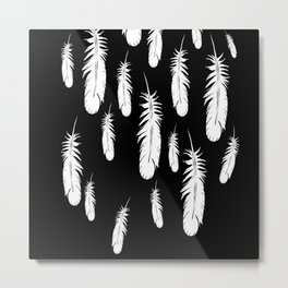 Feather Feather Jewelry - Falling Feathers Metal Print
