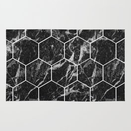 Black Campari marble - hexagons Rug