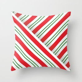 Candy Cane Stripes (red/green/white) Throw Pillow