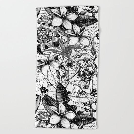 Black and white tropical flower Beach Towel