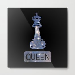 Queen Chess Piece Starry Night Galaxy - Cool Chess Club Gift Metal Print