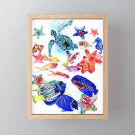 Sea World,Underwater Scene coral sea, beach tropical ocean sea beach house design Framed Mini Art Print