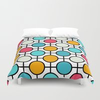 polka dots Duvet Covers featuring Polka Dots by Dizzy Moments