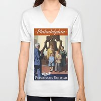 philadelphia V-neck T-shirts featuring PHILADELPHIA/vintage by Kathead Tarot/David Rivera