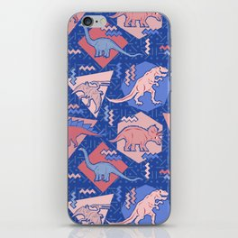 Nineties Dinosaurs Pattern  - Rose Quartz and Serenity version iPhone Skin