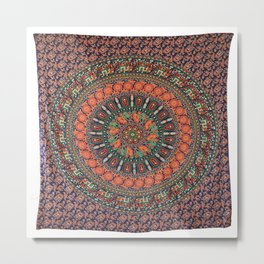 Indian Mandala Elephant Tapestry Metal Print