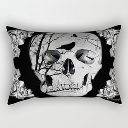 Gothic Skull Crow Rose A353 Rectangular Pillow