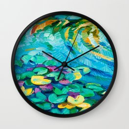 Original oil painting of beautiful water lily(Nymphaeaceae) on canvas.Modern Impressionism Wall Clock