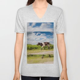 Calf walking in natural landscape Unisex V-Neck