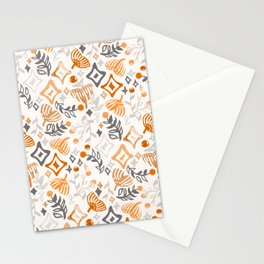 Abstract Ginkgo and Berry Pattern Stationery Cards