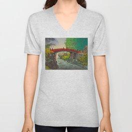 Vintage Japanese Woodblock Print Garden Red Bridge River Rapids Beautiful Green Forest Landscape Unisex V-Neck