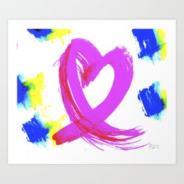 Pink Heart Ribbon (with Tie-Dye Blue-Yellow) for Breast Cancer Research by Jeffrey G. Rosenberg Art Print