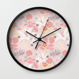 Pink Japanese pond florals Wall Clock