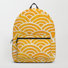Japanese Seigaiha Wave – Marigold Palette Backpack