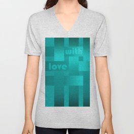 A satin ribbon .Turquoise background . With love. Unisex V-Neck