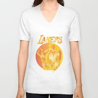 lakers V-neck T-shirts featuring Lakers by Istvan Antal