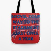 nfl Tote Bags featuring NFL - Bills Shovel Your Way by Katieb1013