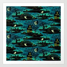 Halloween Night - Fox Fire Green Art Print