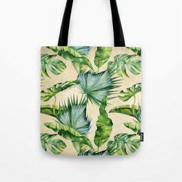 Green Tropics Leaves on Linen Tote Bag