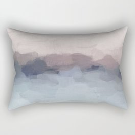 Blush Pink, Mauve Purple, Navy Light Blue, Abstract Painting, Modern Wall Art, Ocean Waves Horizon Rectangular Pillow