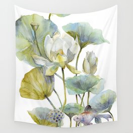 Lotus Plant and Fish Zen Design Watercolor Muted Pallet Botanical Art Wall Tapestry