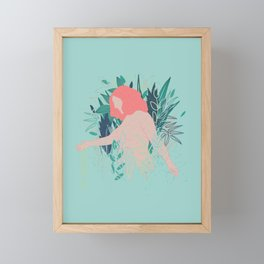 Nude in coral pink going through the garden Framed Mini Art Print