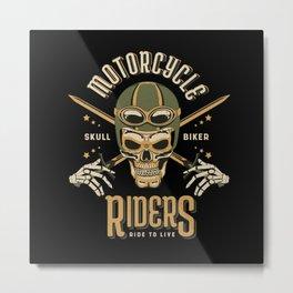 Motorcycle skull biker riders ride to live Metal Print