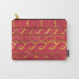 Gold Ethnic Pattern on Deep Pink Carry-All Pouch