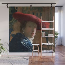 Johannes Vermeer - Girl with a Red Hat Wall Mural