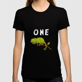 Kids 1 Year Old Lizard Reptile Birthday Party 1th Birthday T-shirt