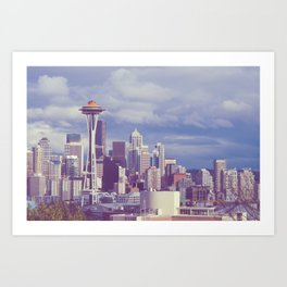 Space Needle Goes Galaxy Gold Art Print