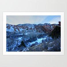 Snowy Red Rocks Twilight Art Print