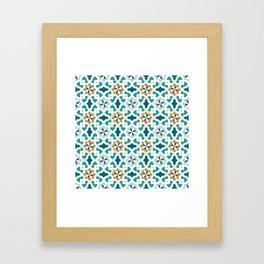 Geometric Pattern, oriental style (blue color set)  traditional morocco tile pattern Framed Art Print