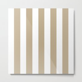 Khaki (HTML/CSS) (Khaki) grey - solid color - white vertical lines pattern Metal Print