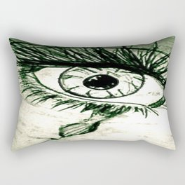 Crying Eye Graphite Illustration Rectangular Pillow