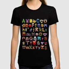 Sesame Street Alphabet Womens Fitted Tee MEDIUM Black