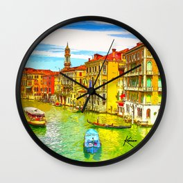 Awesome Venice Italy, Canal View painting illustration Wall Clock