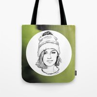 jenna kutcher Tote Bags featuring JENNA. by paintparamore